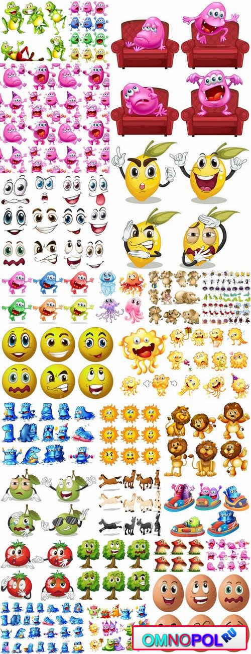 Cartoon funny monsters icon smiley animals vector image 25 EPS