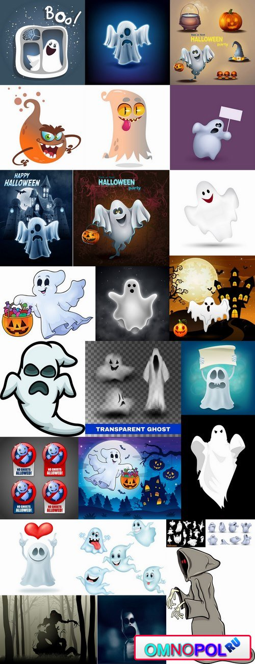 Halloween ghost phantom vector image 25 EPS