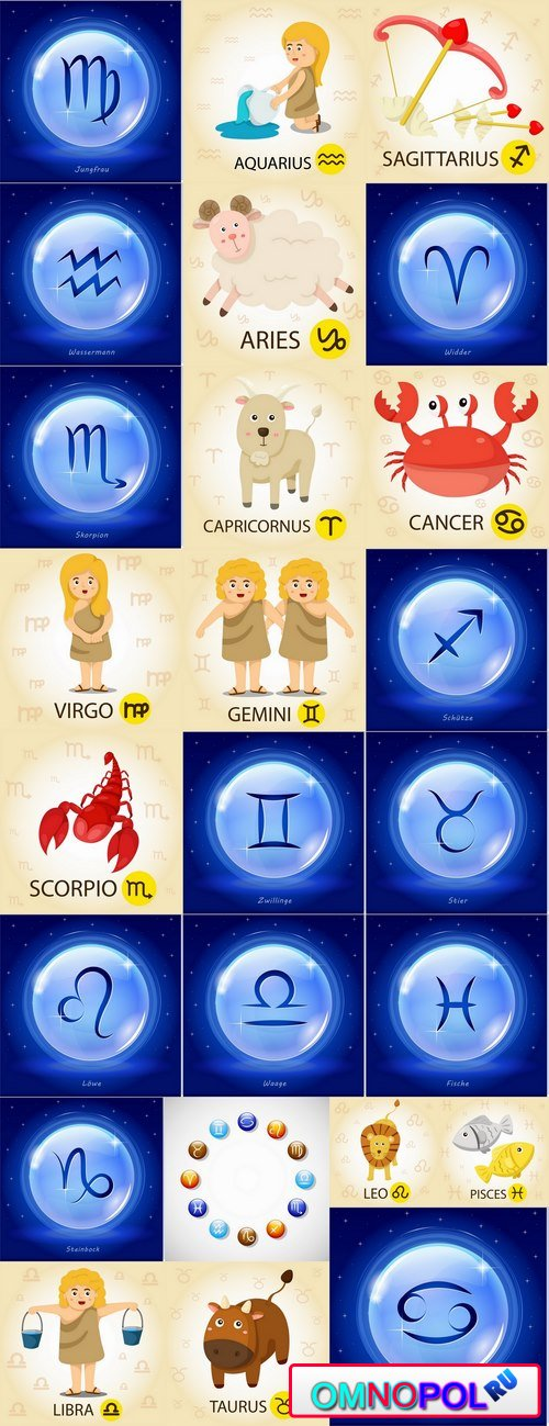 Images of the zodiac vector images 25 Eps