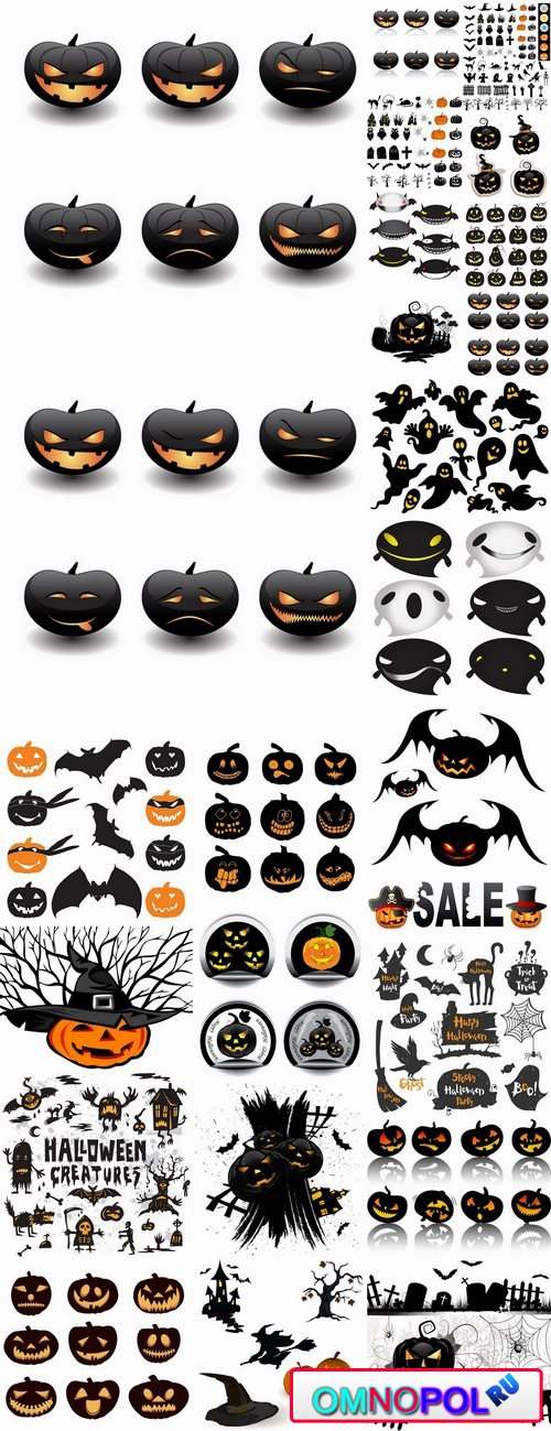 Icon halloween witch pumpkin Thanksgiving 25 EPS
