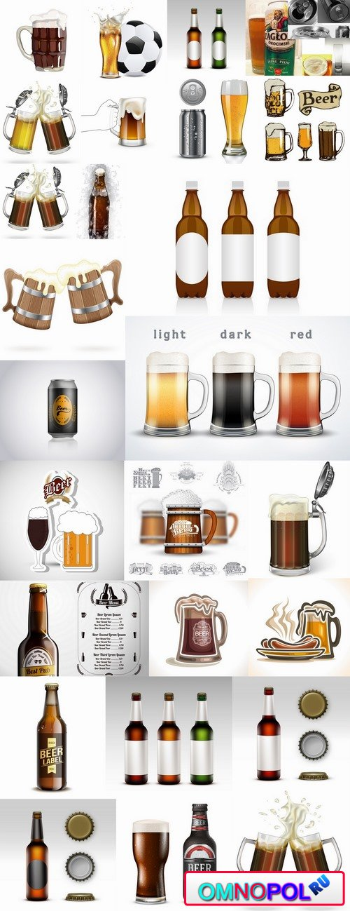 Beer bottle glass of soccer vector image 25 EPS