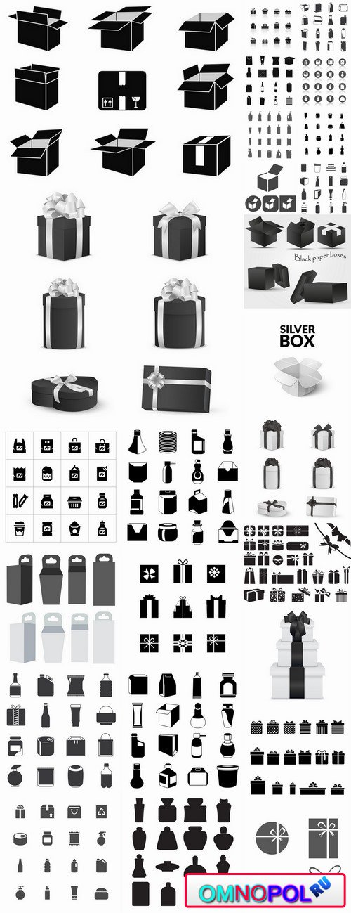 Icon sticker sticker bottle bottle box package vector picture 25 EPS