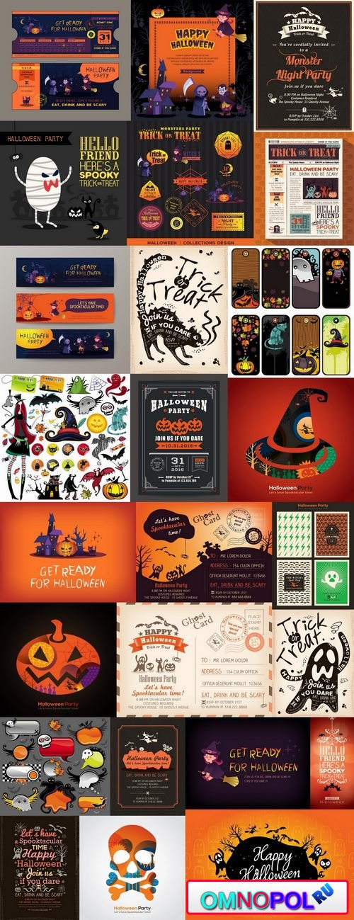 Halloween banner sticker pumpkin ghost witch vector picture 25 EPS
