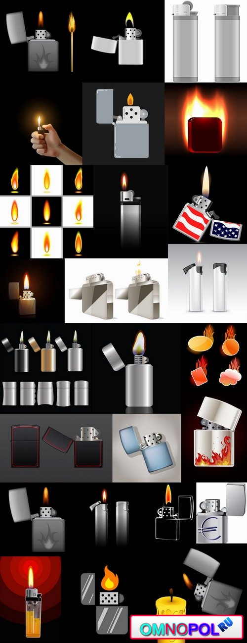 Cigarette lighter fire flames vector image 25 EPS