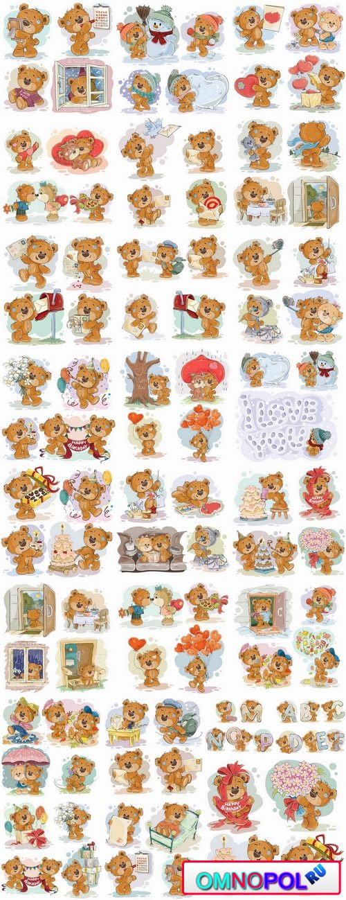 Teddy bear gift card for Valentines Day Love Heart 25 EPS