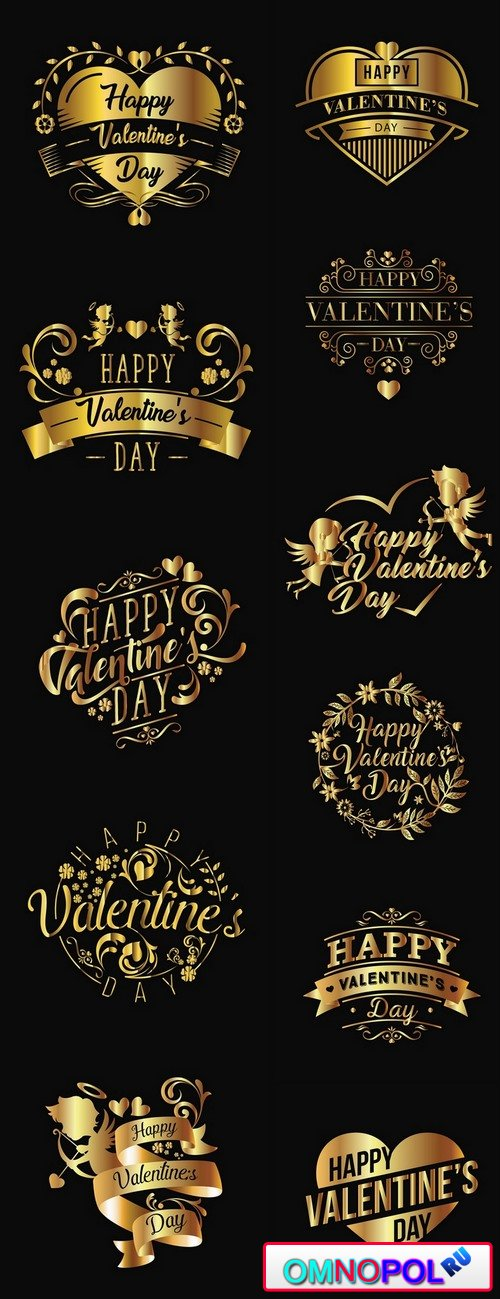 Logo slogan flyer card valentines day vector image 11 EPS